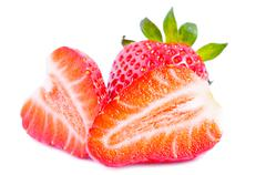 Sliced strawberries Stock Photos
