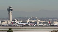 Aircraft at Los Angeles Airport - stock footage
