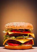 large double burger - stock photo