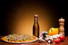 Stock Photo of traditional pizza with vegetables