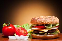 hamburger and vegetables - stock photo