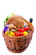 Stock Photo of basket with groceries food