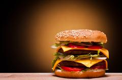 large hamburger - stock photo