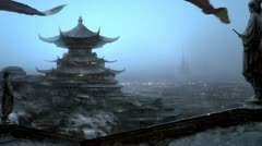 Oriental matte painting. Stock Footage
