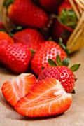 natural organic strawberries - stock photo