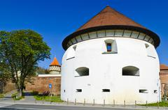 thick tower in sibiu - stock photo