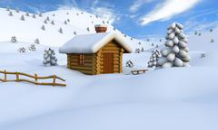 Winter log cabin Stock Illustration