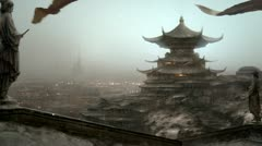 Oriental matte painting. - stock footage