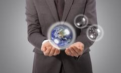 Earth globe in hand, elements of this image furnished by nasa Stock Illustration