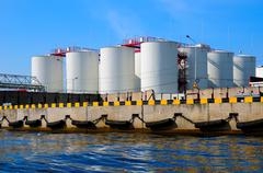 silos in harbour - stock photo
