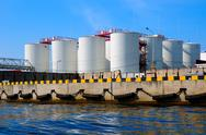 Stock Photo of silos in harbour
