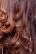 background of wavy auburn hair - stock photo