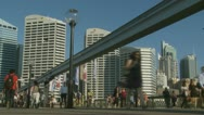 Darling Harbour speeded up tourists Stock Footage