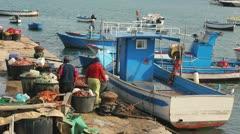 Fishermen in marina of Bari, Italy Stock Footage