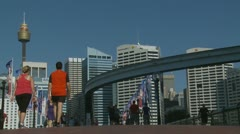 Crowds timelapse at Sydney Darling Harbour (2) - stock footage
