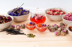 Herbal natural floral tea infusion with dry flowers Stock Photos