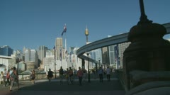 Crowds timelapse at Sydney Darling Harbour (3) - stock footage