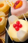 fresh berry fruit cake - stock photo