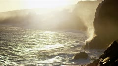 Billowing Steam Lava Falling Pacific Ocean Waves - stock footage