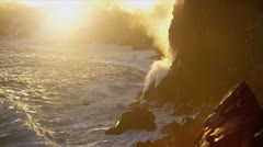 Billowing Steam Kilauea Lava Falling Ocean Waves Stock Footage
