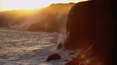 Molten Lava Kilauea Pouring into Ocean Sunset Stock Footage