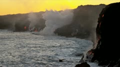 Stock Video Footage of Molten Kilauea Lava Pouring into Ocean Sunset