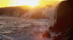 Red Hot Lava Falling Ocean Waves Big Island Hawaii - stock footage