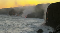 Sunset Steam Rising Volcanic Lava Hawaii Stock Footage