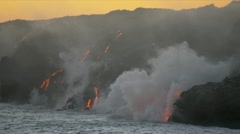 Stock Video Footage of Volcanic Kilauea Lava Pouring Into Pacific Ocean
