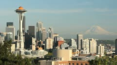 Seattle Space Needle, Mount Rainier - stock footage