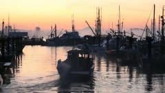 Steveston Harbor Dawn, Boat Departs Stock Footage