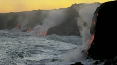 Steam Rising Volcanic Lava Flowing Into Ocean Stock Footage
