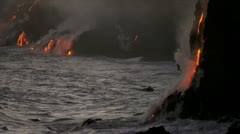 Stock Video Footage of Kilauea Volcanic Lava Pouring Into Ocean