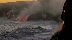 Red Hot Lava Kilauea Falling Pacific Ocean Waves - stock footage