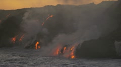 Red Hot Lava Falling Ocean Big Island Hawaii Stock Footage