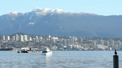 Burrard Inlet Vessel Traffic, Vancouver Stock Footage