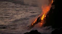 Kilauea Volcanic Lava Pouring Into Ocean Hawaii Stock Footage