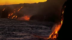 Molten Lava Causing Steam Ocean Waves Sunset - stock footage