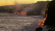 Stock Video Footage of Red Hot Kilauea Lava Falling Ocean Waves