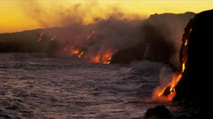 Steam Rising Kilauea Lava Flowing Into Ocean Sunset - stock footage