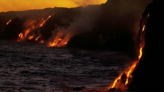 Burning Kilauea Volcanic Lava Pouring Into Ocean - stock footage