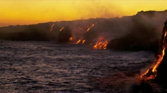 Red Hot Lava Pouring Pacific Ocean Hawaii - stock footage