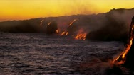 Stock Video Footage of Red Hot Lava Pouring Pacific Ocean Hawaii