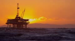 Coastal Oil Production Platform Sunset Stock Footage