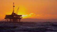 Coastal Oil Production Platform Sunset - stock footage