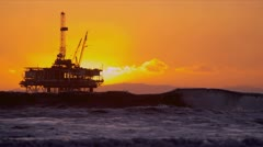 Oil Rig Platform Offshore Sunset - stock footage