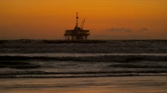 Sunset Oil Producing Platform Ocean Stock Footage