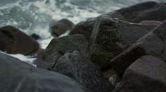 Waves breaking on Stones-200fps - stock footage