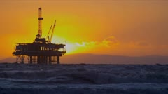 Oil Rig Platform Offshore Sunset Stock Footage