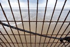 Beach mesh corrosion Stock Photos